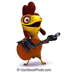 Chicken and guitar - 3d render illustration cartoon of...