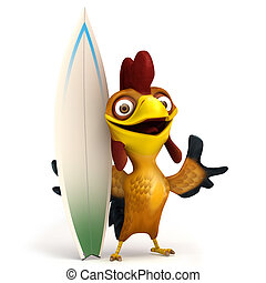 Chicken with surf board - 3d render illustration cartoon of...