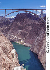 Hoover Dam Bypass Pat Tillman Memorial Bridge. Vertical...