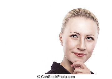 Portrait of Serious Thoughtful Caucasian Woman Looking...