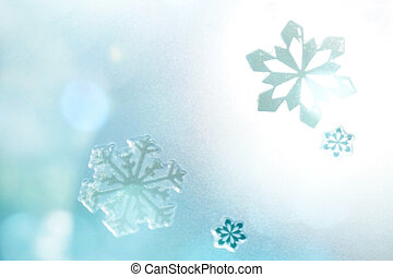 Winter Holiday Snow Background, Blue Bokeh