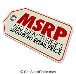 MSRP Manufacturers Suggested Retail Price Store Tag Sticker...