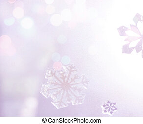 Winter Holiday Snow flake Background, Bokeh.