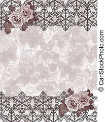 Floral border mauve roses - Image and illustration...