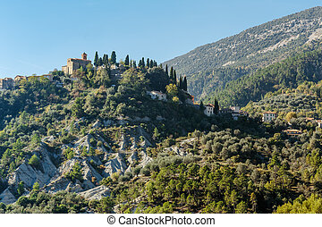 Mountain old village Coaraze, Provence Alpes Cote d'Azur,...