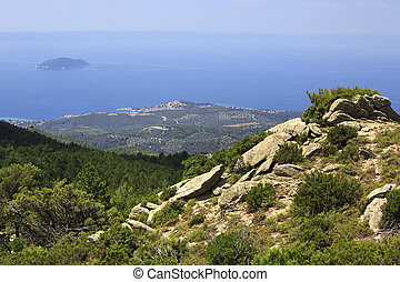 Mountains and the Aegean Sea. Sithonia peninsula in northern...