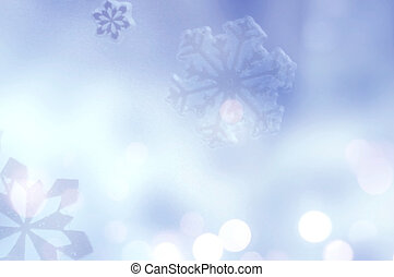Winter Holiday Snow flake Background, Blue Bokeh.