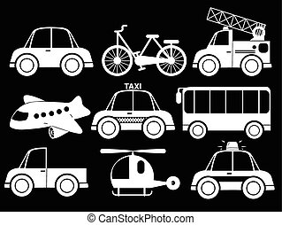 Different type of transportations on a black background
