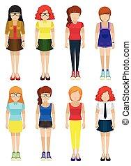 Faceless ladies - Eight faceless ladies on a white...