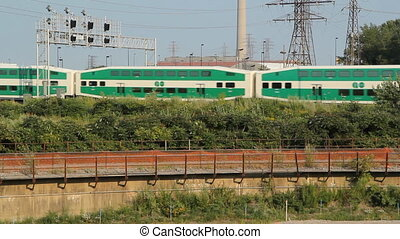 Go Train Detail Toronto, Ontario, - Go Train goes by Train...