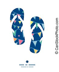 Vector colorful doodle bunting flags flip flops silhouettes...