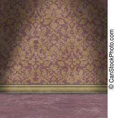 Empty Room With Faded Purple Damask Wallpaper