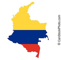 Colombia Flag - Flag of the Republic of Colombia overlaid on...