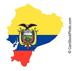 Ecuador Flag - Flag of the Republic of Ecuador overlaid on...