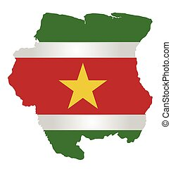 Suriname Flag - Flag of the Republic of Suriname overlaid on...