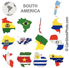 South American Countries - Flags of South America collection...