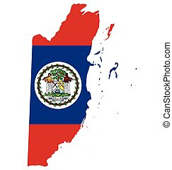 Belize Flag - Flag of the Belize overlaid on outline map...