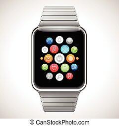 elegante, reloj, concepto,