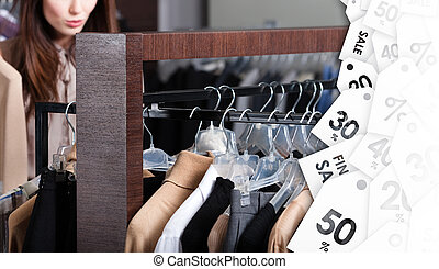 Girl is looking for a perfect clothing with attractive discounts