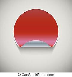 Round red sticker.