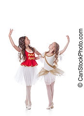 Beautiful young ballerinas dancing in pair, isolated on...