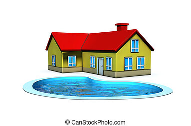 isolated house with swimming pool - 3d render illustration...
