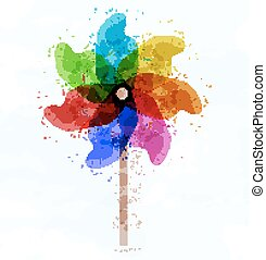 Pinwheel concept illustration on white background Vector
