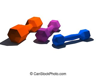 isolated multicolor dumbbells on white background - 3d...