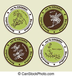 Set of Natural Organic Product badges. Collection of...