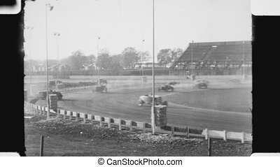 Hot Rod race with spinouts. - Hot rod race at at Oakland...