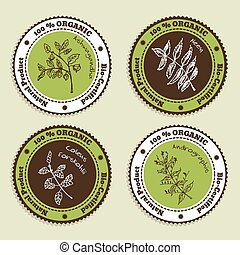 Set of Natural Organic Product badges Collection of...