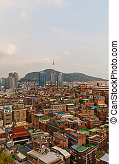 View of Namsan Tower and Seoul city, South Korea - View of...
