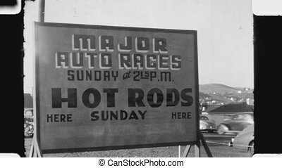 Hot Rods sign. 1940s. - Sign advertising car races for hot...