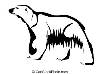 polar bear abstract animal isolated on a white background