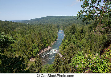 Snoqualmie River, Washington Aerial View - A view of the...
