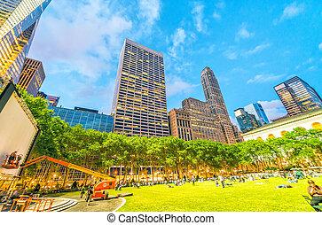 Bryant Park summer lights in Manhattan - New York City.