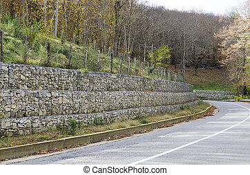 retaining wall gabion - retaining drywall, built of stone...