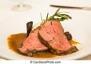 Prime Rib with Gravy and Rosemary - Prime Rib with mashed...