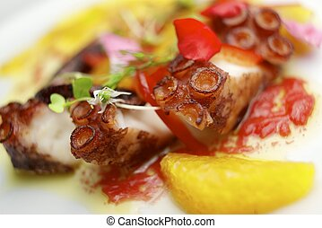 Octopus ceviche with citrus fruits