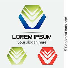 Abstract hexagon icon shape template logo design