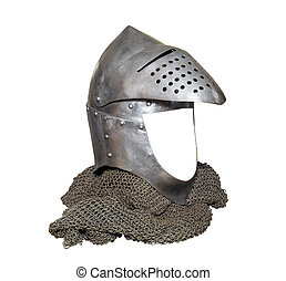 knight helmet with visor raised and chainmail - knight...