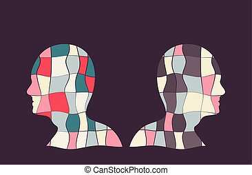 Opposite Sides - Colourful vector illustration with two...