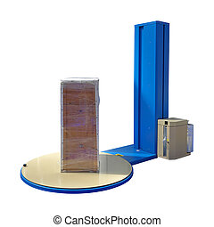 Pallet Stretch Wrapping machine isolated included clipping...