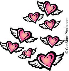 Coração, voando, Ilustração