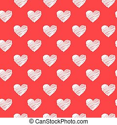 Scribbled hearts red pattern