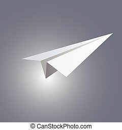 Paper plane - Vector illustration of paper plane on grey...