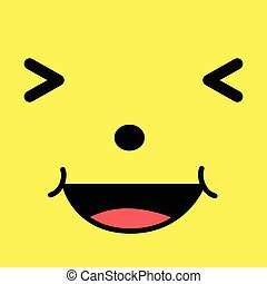 Laughing Cartoon face - Vector illustration of funny cute...