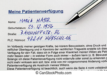 living will - a living will in german language instructions...