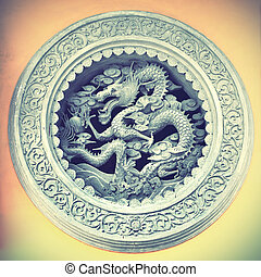 Chinese dragon in old tample, China. Retro style filtred/