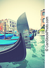 Gondolas on Grand Canal, Venice, Italy Retro style filtred